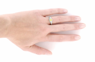 Art Deco Engraved Yellow Sapphire and Diamond Filigree Engagement Ring in 14 Karat White Gold - Item R138YES - Image 4
