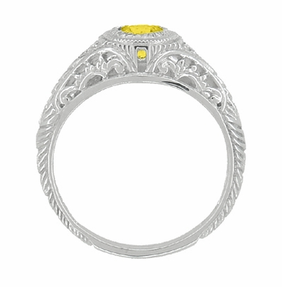 Art Deco Engraved Yellow Sapphire and Diamond Filigree Engagement Ring in Platinum - Item R138PYES - Image 2