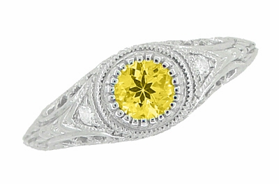 Art Deco Engraved Yellow Sapphire and Diamond Filigree Engagement Ring in Platinum - Item R138PYES - Image 3