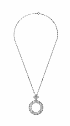 Art Deco Eternal Circle of Love Filigree Pendant Necklace in Sterling Silver - Item N170W - Image 2