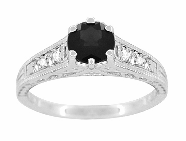 Art Deco Filigree 1.25 Carat Black Diamond Engagement Ring in 14 Karat White Gold - Item R158WBD - Image 3