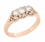 Art Deco Filigree 3 Stone Diamond Ring in 14 Karat Rose ( Pink ) Gold