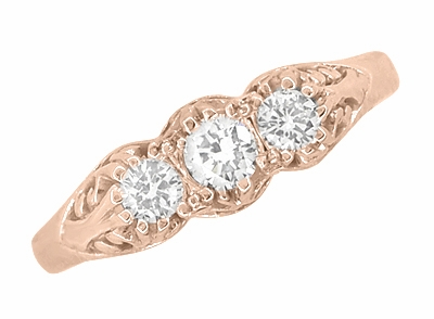 Art Deco Filigree 3 Stone Diamond Ring in 14 Karat Rose ( Pink ) Gold - Item R890R - Image 3