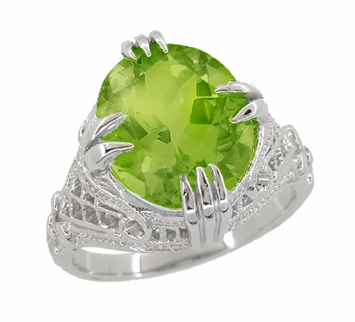 Art Deco Filigree 5.5 Carat Peridot Statement Ring in 14 Karat White Gold - Item R157PER - Image 1