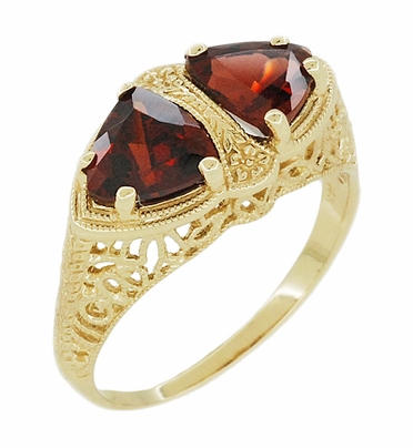 Art Deco Filigree Almandite Garnet Loving Duo Ring in 14K Yellow Gold - Item R1129YG - Image 1
