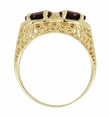 Art Deco Filigree Almandite Garnet Loving Duo Ring in 14K Yellow Gold - Item R1129YG - Image 3