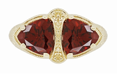 Art Deco Filigree Almandite Garnet Loving Duo Ring in 14K Yellow Gold - Item R1129YG - Image 4