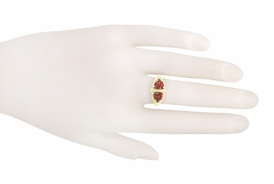 Art Deco Filigree Almandite Garnet Loving Duo Ring in 14K Yellow Gold - Item R1129YG - Image 5