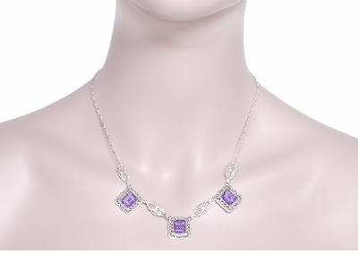 Art Deco Filigree Amethyst 3 Drop Necklace in Sterling Silver - Item N140AM - Image 2