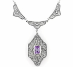 Art Deco Vintage Filigree Amethyst Dangle Drop Pendant Necklace in Sterling Silver