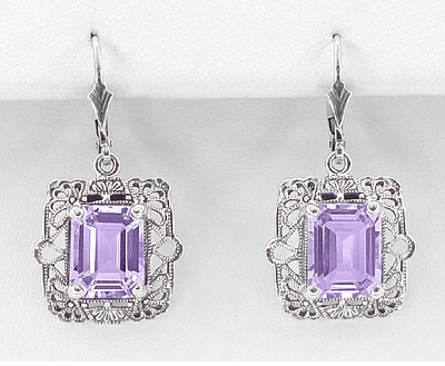 Art Deco Filigree Amethyst Drop Earrings in Sterling Silver - Item E154AM - Image 1