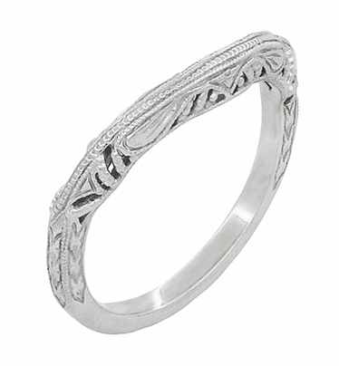 Art Deco Filigree and Wheat Engraved Curved Wedding Ring in 14 Karat White Gold - Item WR161W - Image 1