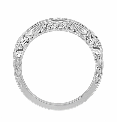Art Deco Filigree and Wheat Engraved Curved Wedding Ring in 14 Karat White Gold - Item WR161W - Image 3