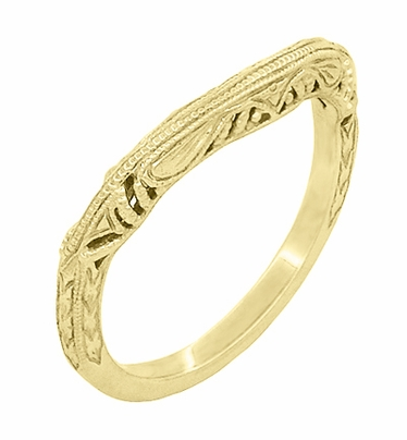 Art Deco Filigree and Wheat Engraved Curved Wedding Ring in 14 Karat Yellow Gold - Item WR161Y - Image 1