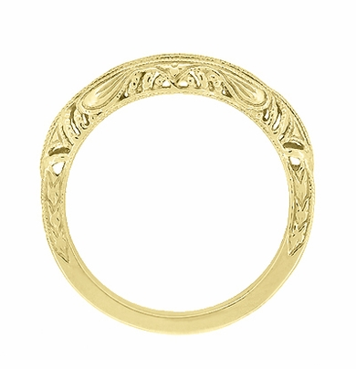Art Deco Filigree and Wheat Engraved Curved Wedding Ring in 14 Karat Yellow Gold - Item WR161Y - Image 3