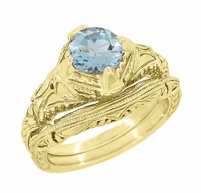 Art Deco Filigree and Wheat Engraved Curved Wedding Ring in 14 Karat Yellow Gold - Item WR161Y - Image 4