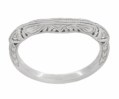 Art Deco Filigree and Wheat Engraved Curved Wedding Ring in Platinum - Item WR161P - Image 2