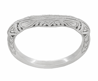 Art Deco Filigree and Wheat Engraved Curved Wedding Ring in Sterling Silver - Item SSWR161 - Image 2