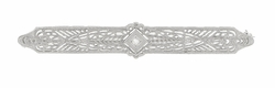 Art Deco Filigree Antique Bar Brooch in 14 Karat White Gold