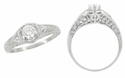 Art Deco Filigree Antique Platinum Engagement Semimount Ring Design for a 1/3 Carat Diamond - Item R407PNS - Image 1