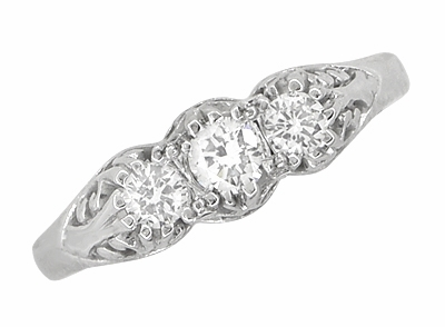 Art Deco Filigree Antique Style 3 Stone Diamond Ring in Platinum - Item R890P - Image 3