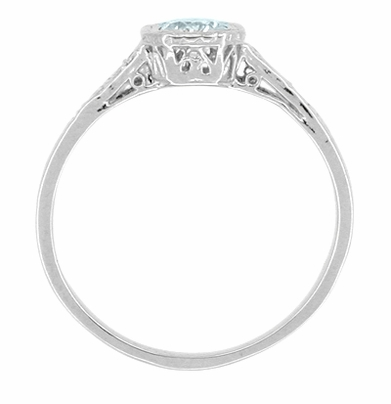 Art Deco Filigree Aquamarine and Diamond Engagement Ring in Platinum - Item R298PA - Image 1