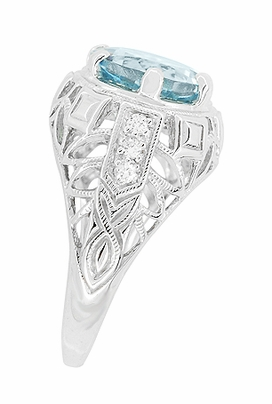 Art Deco Filigree Aquamarine and Diamonds Dome Ring in 14 Karat White Gold - Item R800WA - Image 2