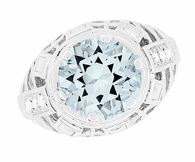 Art Deco Filigree Aquamarine and Diamonds Dome Ring in 14 Karat White Gold - Item R800WA - Image 4
