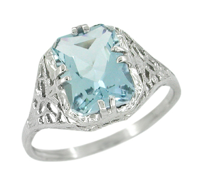 Art Deco Filigree Aquamarine Engagement Ring in 14 Karat White Gold