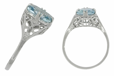 Art Deco Filigree Aquamarine Engagement Ring in 14 Karat White Gold - Item R418W - Image 1