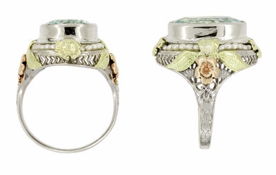 Art Deco Filigree Aquamarine Estate Ring Framed with Seed Pearls in 14 Karat Tricolor Gold - Item R131 - Image 1