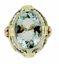 Art Deco Filigree Aquamarine Estate Ring Framed with Seed Pearls in 14 <br>Karat Tricolor Gold