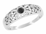 Edwardian Filigree Black Diamond Ring in 14 Karat White Gold