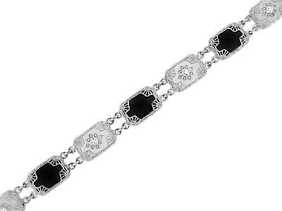 Art Deco Filigree Black Onyx and Diamond Bracelet in Sterling Silver