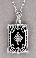 Art Deco Filigree Black Onyx and Diamond Pendant Necklace in Sterling Silver