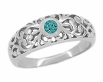 Edwardian Filigree Blue Diamond Ring in 14 Karat White Gold
