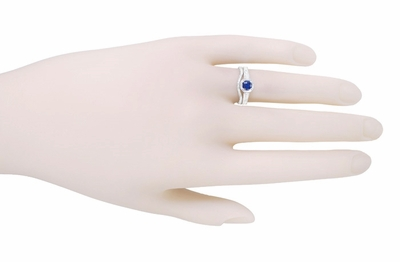 Art Deco Filigree Blue Sapphire and Diamond Engagement Ring in 18 Karat  White Gold - Item R298WS - Image 3