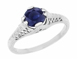 Filigree Blue Sapphire Art Deco Engagement Ring in 14 Karat White Gold, Low Profile Vintage Ring Design