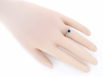 Art Deco Filigree Blue Sapphire Engagement Ring in 14 Karat White Gold - Item R257 - Image 2