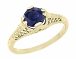 Art Deco Filigree Blue Sapphire Engagement Ring in 14 Karat Yellow Gold, Unique Heirloom Artisan Sapphire Engagement Band