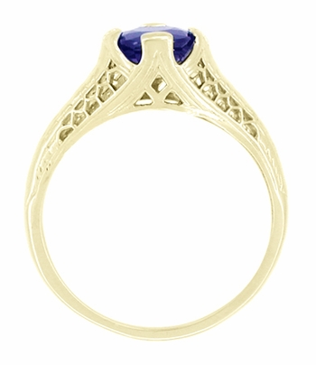 Art Deco Filigree Blue Sapphire Engagement Ring in 14 Karat Yellow Gold, Unique Heirloom Artisan Sapphire Engagement Band  - Item R285Y - Image 1
