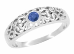 Edwardian Filigree Blue Sapphire Ring in 14 Karat White Gold | Low Profile Bezel Set Heirloom Ring