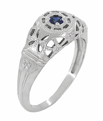 Art Deco Filigree Blue Sapphire Ring in 14 Karat White Gold - Item R335 - Image 1
