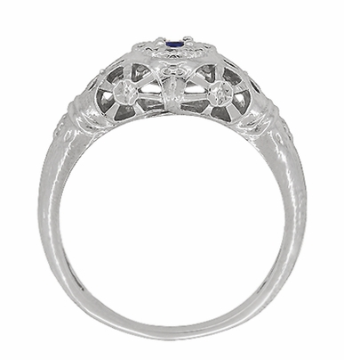 Art Deco Filigree Blue Sapphire Ring in 14 Karat White Gold - Item R335 - Image 4