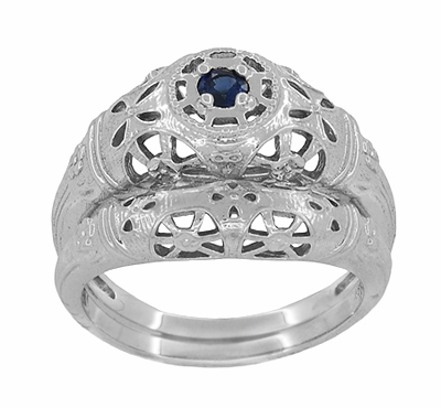 Art Deco Filigree Blue Sapphire Ring in 14 Karat White Gold - Item R335 - Image 6