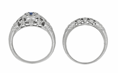 Art Deco Filigree Blue Sapphire Ring in 14 Karat White Gold - Item R335 - Image 8