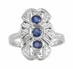 Art Deco Filigree Blue Sapphires Cocktail Statement Ring in 14 Karat White Gold