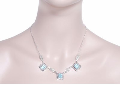 Art Deco Filigree Blue Topaz 3 Drop Necklace in Sterling Silver - Item N140 - Image 2