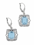 Art Deco Filigree Blue Topaz Drop Earrings in Sterling Silver