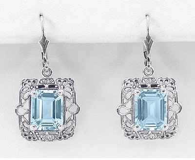 Art Deco Filigree Blue Topaz Drop Earrings in Sterling Silver - Item E154 - Image 1